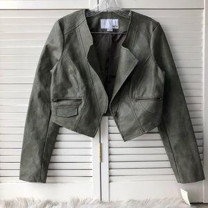 Bar III cropped faux leather moto style coat